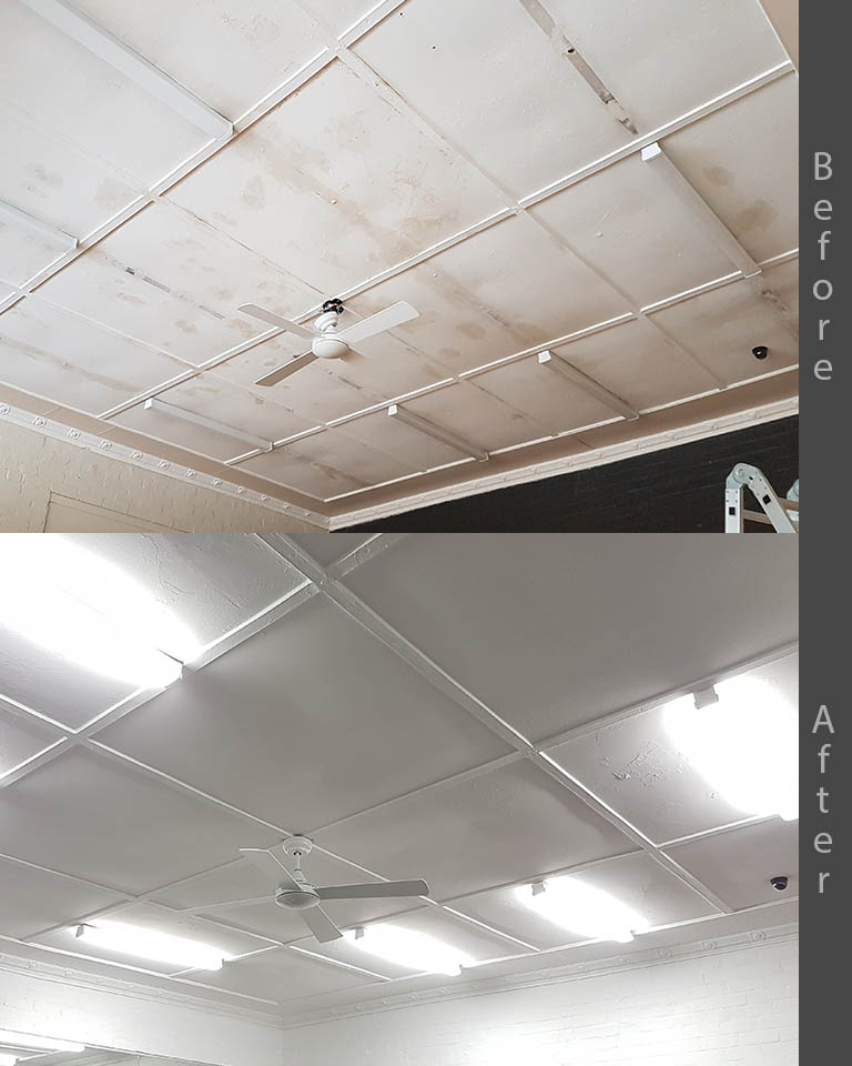 before after commercial ceiling restoration Sydney